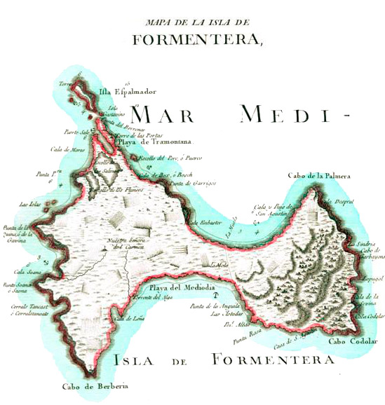 Old Map of Formentera